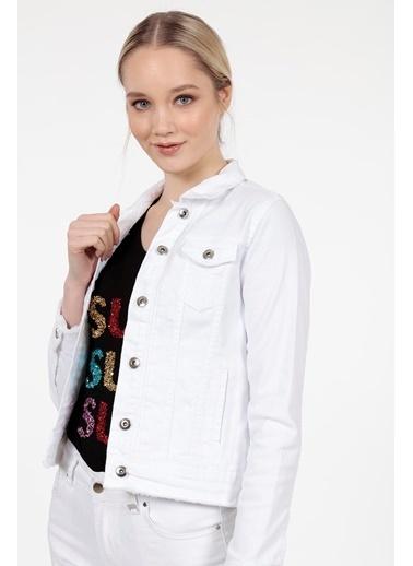 Vitrin Beyaz Denim Mini Ceket Beyaz